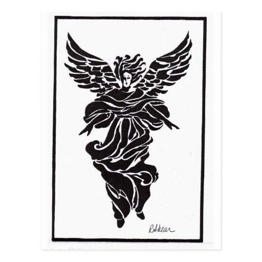 Ángel moderno en marco tarjetas postales