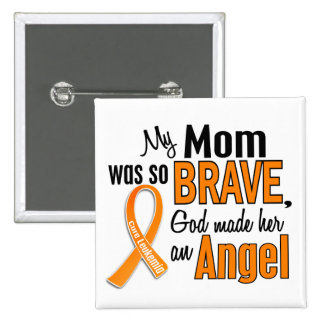 Angel Mom Leukemia 2 Inch Square Button