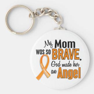 Angel Mom Leukemia Basic Round Button Keychain