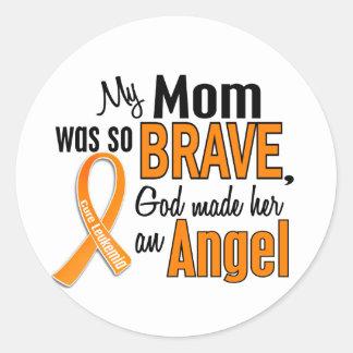 Angel Mom Leukemia Classic Round Sticker
