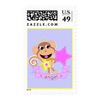 angel monkey postage stamp