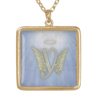 Angel Monogram Gold Plated Necklace