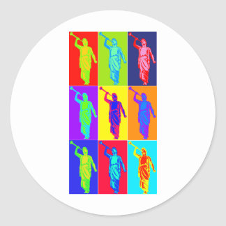 Angel Moroni Pop Art Classic Round Sticker