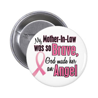 Angel MOTHER-IN-LAW Breast Cancer T-Shirts Button