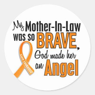 Angel Mother-In-Law Leukemia Classic Round Sticker