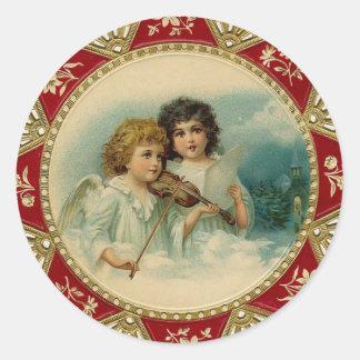 """Angel Music"" Vintage Christmas Classic Round Sticker"