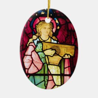 Ángel musical adorno ovalado de cerámica
