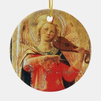 ÁNGEL MUSICAL EN piedra de gema de rubíes del ROJO Ornamento De Navidad