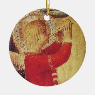ÁNGEL MUSICAL EN piedra de gema de rubíes del ROJO Adornos De Navidad