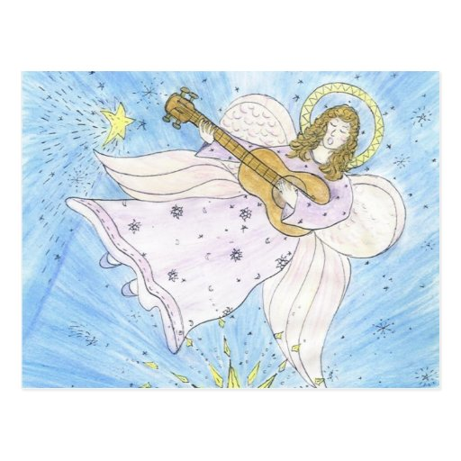 Ángel musical tarjeta postal