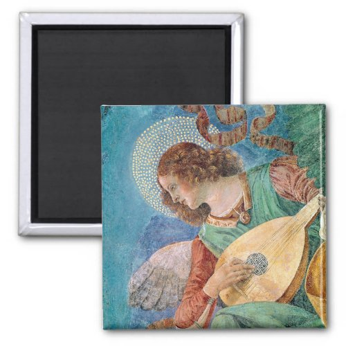 Angel Musician Playing Lute by Melozzo da Forli 2-inch Square Magnet