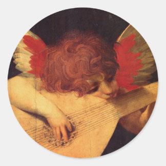 Angel Musician, Rosso Fiorentino Christian Classic Round Sticker