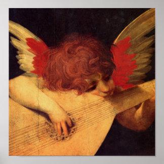 Angel Musician Rosso Fiorentino Christian Poster