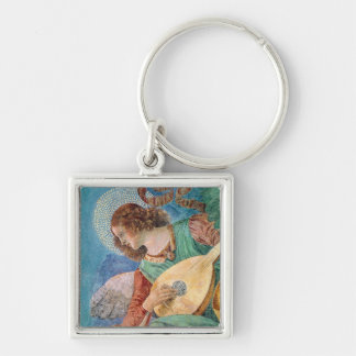Angel Musician Silver-Colored Square Keychain