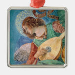 Angel Musician Square Metal Christmas Ornament