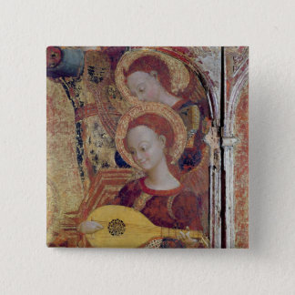 Angel musicians from painting of Virgin and Child Button