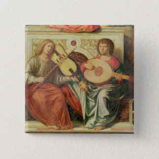 Angel musicians from painting of Virgin and Pinback Button