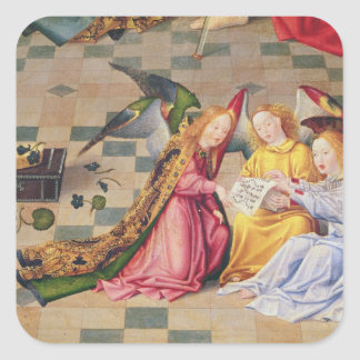 Angel musicians from right panel of altarpiece square sticker