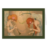 Angel Musicians Vintage Music Victorian Christmas Greeting Card