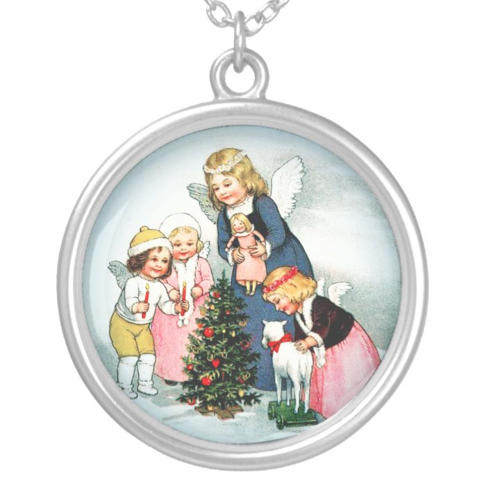 Angel necklace Christmas jewelry Silver Pendant