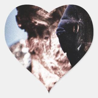 Ángel negro pegatina en forma de corazón