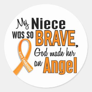 Angel Niece Leukemia Classic Round Sticker