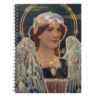 Angel Night Pearl Halo Wings Religious Vintage Spiral Note Books