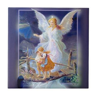 Ángel, niños y puente de guarda azulejo cuadrado pequeño