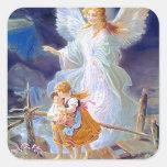 Ángel, niños y puente de guarda calcomanía cuadradas personalizadas