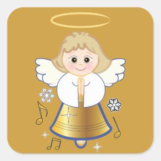 Ángel No-Confesional de Bell del día de fiesta Pegatina Cuadrada