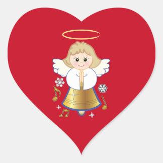 Ángel No-Confesional de Bell del día de fiesta Pegatina En Forma De Corazón