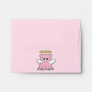 Ángel Notecard del cerdo Sobre