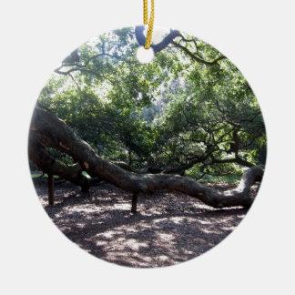 Angel Oak Tree Limbs Double-Sided Ceramic Round Christmas Ornament