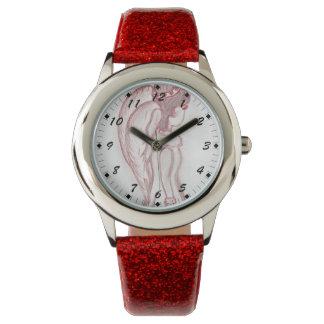 Ángel oblicuo en rojo y blanco reloj