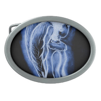 Ángel oblicuo invertido azul hebilla de cinturon oval