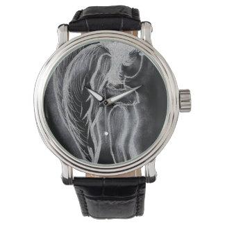 Ángel oblicuo invertido en blanco y negro reloj de mano