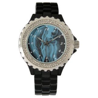 Ángel oblicuo invertido en el azul II Relojes De Mano