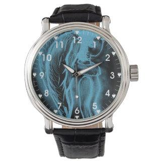 Ángel oblicuo invertido en negro y azul claro relojes de mano