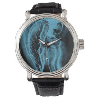 Ángel oblicuo invertido en negro y azul claro relojes de pulsera