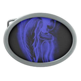 Ángel oblicuo invertido en negro y azul real hebillas de cinturon ovales