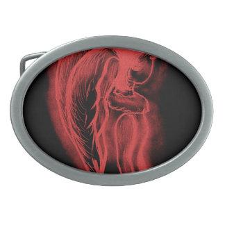 Ángel oblicuo invertido en negro y rojo hebillas de cinturon ovales