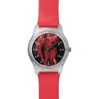 Ángel oblicuo invertido en negro y rojo relojes de mano