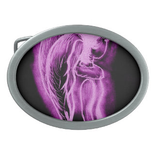 Ángel oblicuo invertido en negro y rosa hebilla cinturón oval