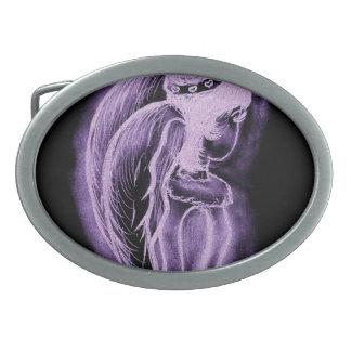 Ángel oblicuo invertido púrpura hebilla cinturón oval