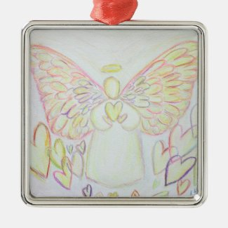 Angel of Hearts Art Holiday Gift Ornaments