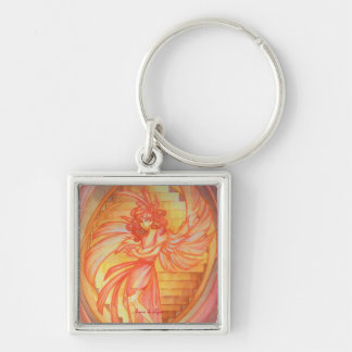 Angel of Life Silver-Colored Square Keychain