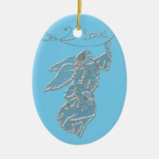 Angel of Love donated by Denise Beverly Double-Sided Oval Ceramic Christmas Ornament