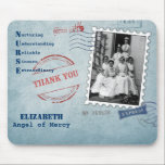 """Angel of Mercy . Custom Name Gift Mousepad<br><div class=""""desc"""">Nurses Day,  Nurses Week,  Nursing School Graduation Gift Mousepad  for a Special Nurse with a custromizable Nurse&#180;s Name. Matching cards,  postage stamps and other products available in the Business Related Holidays / Nurses Day Category of our store.</div>"""