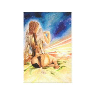Angel of music surrealism art, by Ursu Manuela Canvas Print