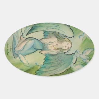 Angel of Peace Oval Sticker